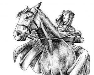 Drawing of Queen Isabella on a horse