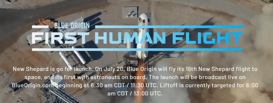 Blue Origin First Human Flight into space